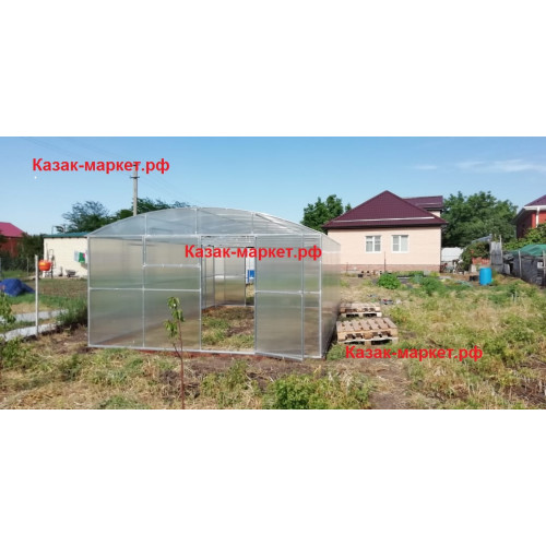 Теплица усиленная с двойной дугой прямостенная ФЕРМЕР ПРОФИ 4х8 м  от производителя Казак-Маркет