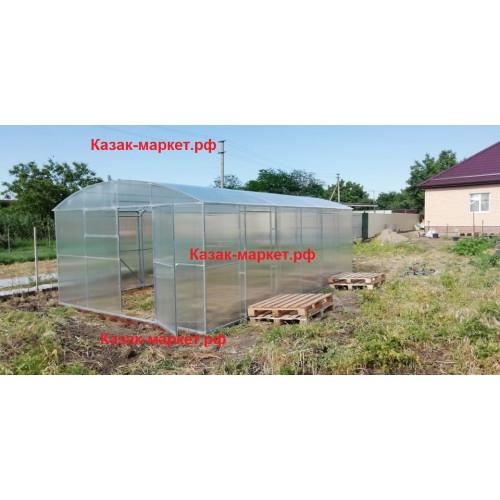Теплица усиленная с двойной дугой прямостенная ФЕРМЕР ПРОФИ 4х6 м от производителя Казак-Маркет